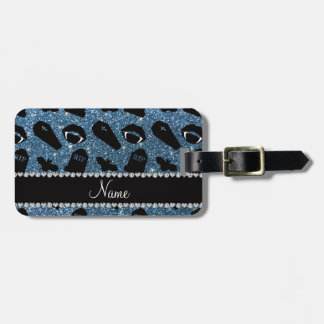 Personalized name misty blue glitter vampire tags for bags