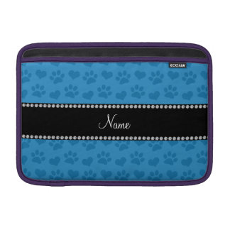 Personalized name misty blue hearts and paw prints MacBook sleeve