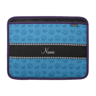 Personalized name misty blue hearts and paw prints MacBook air sleeve