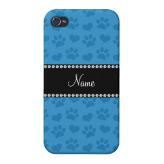 Personalized name misty blue hearts and paw prints iPhone 4/4S cases