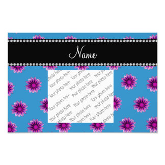 Personalized name misty blue purple pink flowers photo print