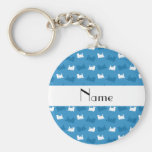 Personalized name misty blue train pattern key chains