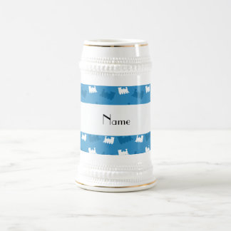 Personalized name misty blue train pattern coffee mug