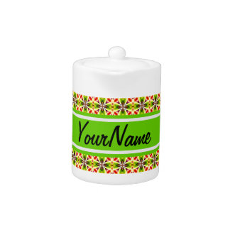 Personalized Name Modern Red Yellow Green Pattern Teapot