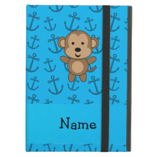Personalized name monkey blue anchors pattern iPad air case