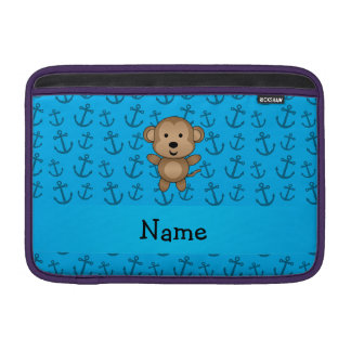 Personalized name monkey blue anchors pattern MacBook sleeve
