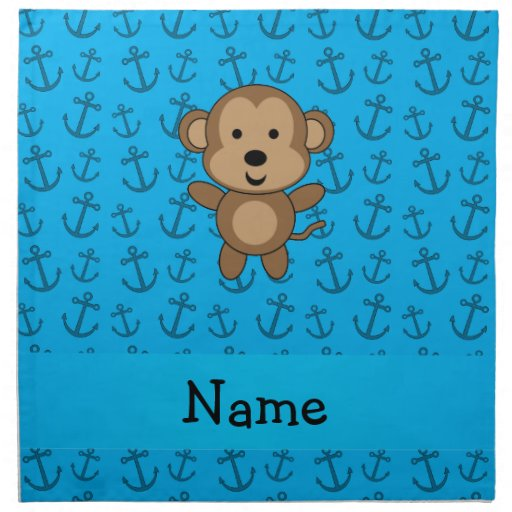 Personalized name monkey blue anchors pattern cloth napkins