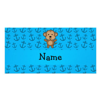 Personalized name monkey blue anchors pattern photo card