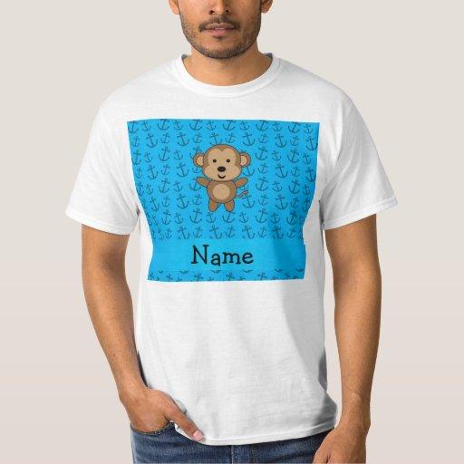 Personalized name monkey blue anchors pattern shirt
