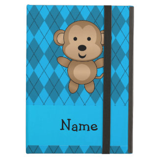 Personalized name monkey blue argyle iPad air cover