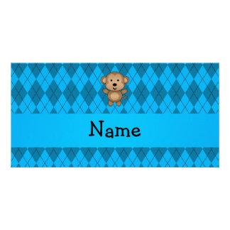 Personalized name monkey blue argyle photo card
