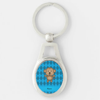 Personalized name monkey blue argyle Silver-Colored oval metal keychain