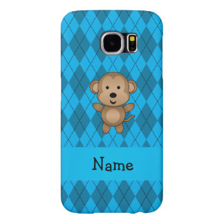 Personalized name monkey blue argyle samsung galaxy s6 cases