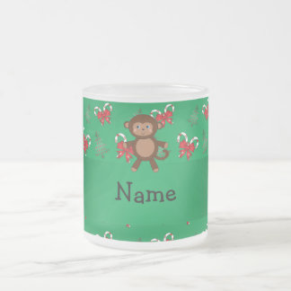Personalized name monkey green candy canes bows coffee mugs