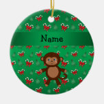 Personalized name monkey green candy canes bows ornaments
