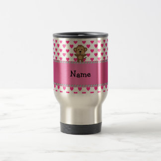 Personalized name monkey pink hearts polka dots travel mug