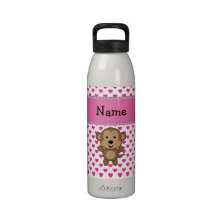 Personalized name monkey pink hearts polka dots reusable water bottles