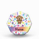 Personalized name monkey rainbow polka dots award