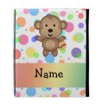 Personalized name monkey rainbow polka dots iPad folio covers