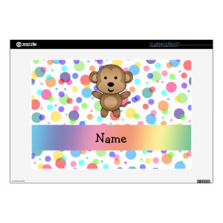 """Personalized name monkey rainbow polka dots decal for 15"""" laptop"""