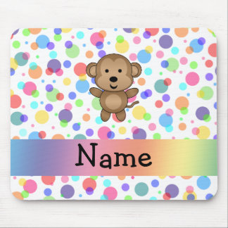Personalized name monkey rainbow polka dots mouse pad