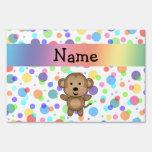 Personalized name monkey rainbow polka dots sign