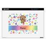 Personalized name monkey rainbow polka dots skins for large netbooks