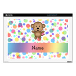 Personalized name monkey rainbow polka dots decal for laptop