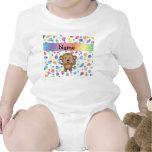Personalized name monkey rainbow polka dots t shirts