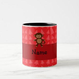 Personalized name monkey red christmas trees Two-Tone coffee mug