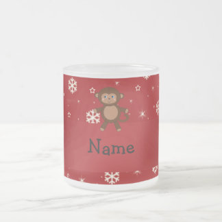Personalized name monkey red snowflakes mugs