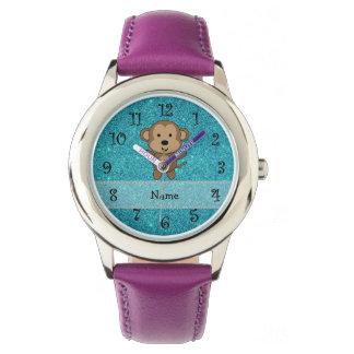 Personalized name monkey turquoise glitter wrist watch