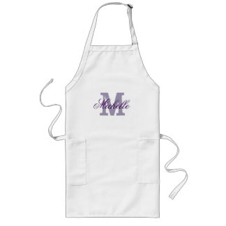 Personalized name monogram apron | Lavender purple