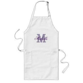 Personalized name monogram apron | Lavender purple