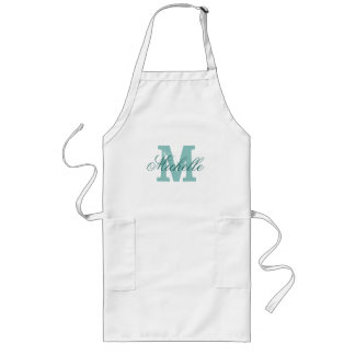 Personalized name monogram apron | Turquoise blue
