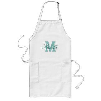 Personalized name monogram apron | Turquoise blue