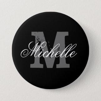 Personalized name monogram button   Classy black