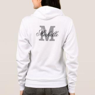 Personalized name monogram fleece hoodie for women