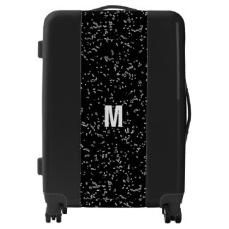 Personalized Name Monogram Fractal Art Black White Luggage
