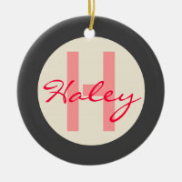 Personalized Name & Monogram Holiday Ornament