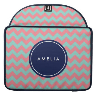 Personalized Name Monogram Light Blue & Pink Sleeve For MacBook Pro