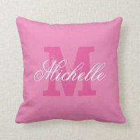 Personalized name monogram pink throw pillow