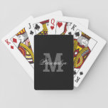 "Personalized name monogram playing cards<br><div class=""desc"">Personalized name monogram playing cards. Classy black and white or custom color. Chic design with stylish vintage typography. Nice monogrammed gift idea for bridge or poker players.</div>"