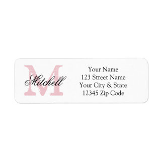Personalized name monogram return address labels