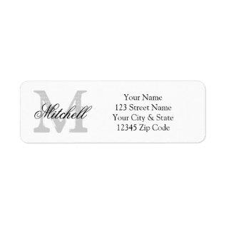 Personalized name monogram return address labels at Zazzle