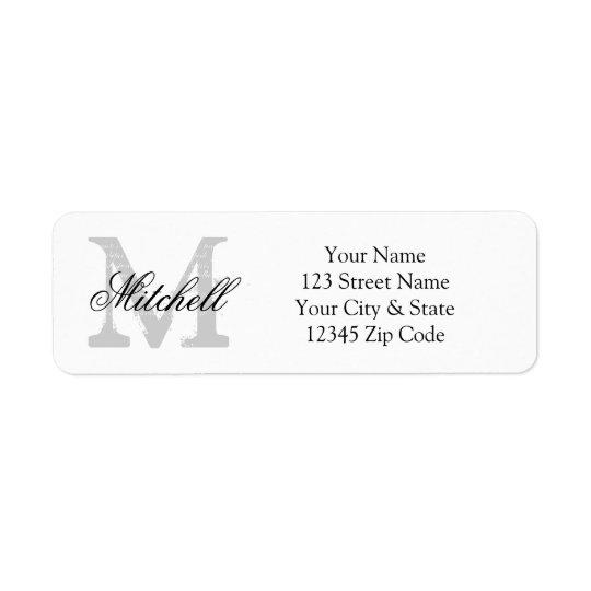personalized name monogram return address labels
