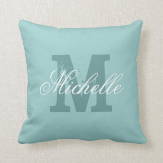 Personalized Name Monogram Teal Blue Throw Pillow