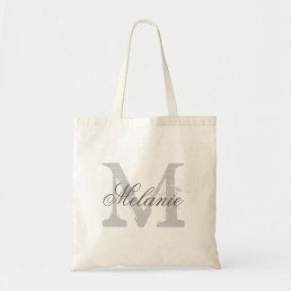 Personalized name monogram tote bag | Gray