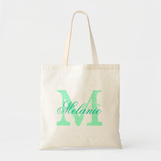 Personalized name monogram tote bag | Mint green