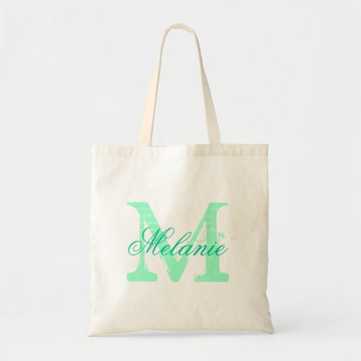 Personalized name monogram tote bag   Mint green Bag